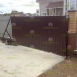 забор из профнастила, площадка и откатные ворота