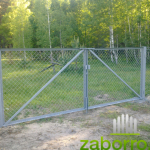 Забор из сетки рабицы, ворота 3х2