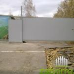откатные ворота из профнастила 4,5м снаружи