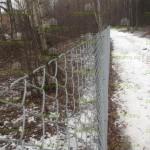 забор из сетки рабицы, ограждение спортивной трассы