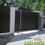 откатные ворота из профнастила с калиткой