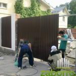 установка распашных ворот и обшивка профлистом