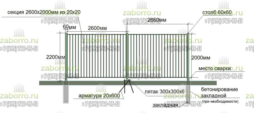 новый сварной забор с размерами