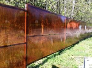 Шумозащитный забор из сотового поликарбоната 10мм (бронза)
