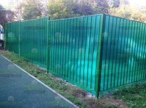 Шумозащитное ограждение из секций и сотового поликарбоната 10мм (зеленый)