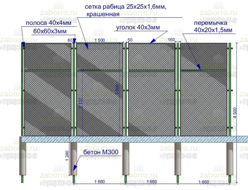 материалы секции из сетки рабицы