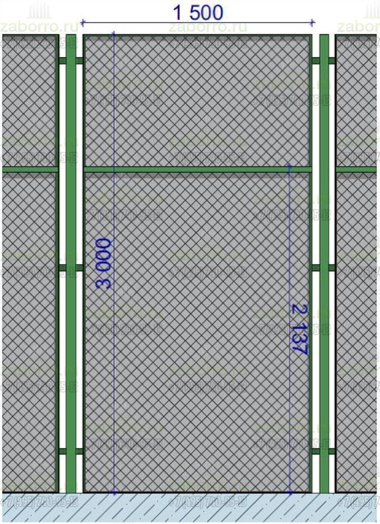 размеры секции из сетки рабицы